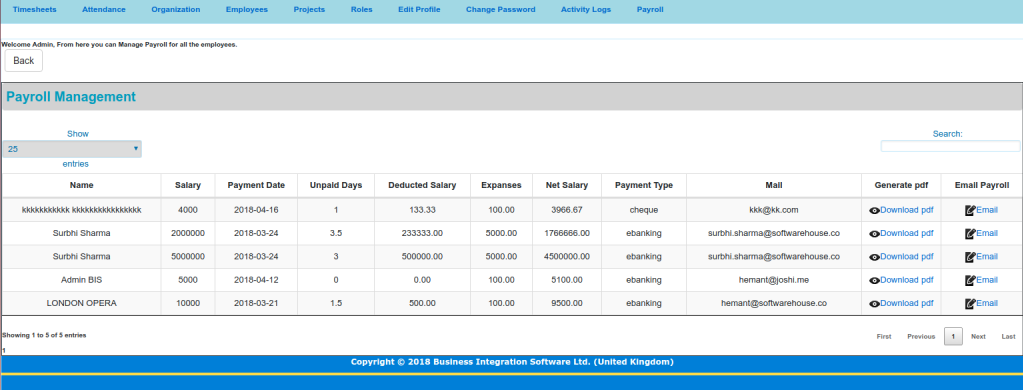 payroll-panel of timesheet Screen