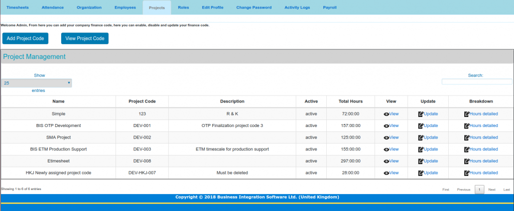 project-panel of timesheet Project screen